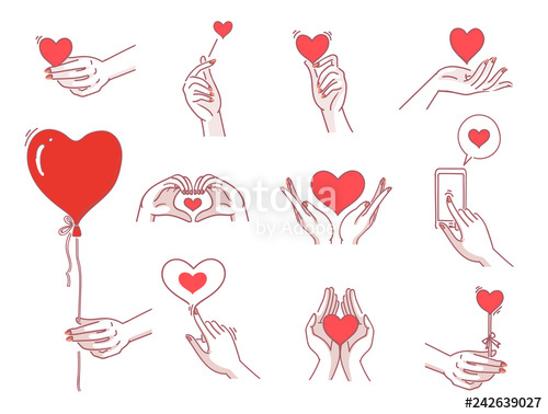 Hands with heart in the palm clipart png free stock Heart hands female set. Women hand holding heart symbol Meaning of ... png free stock