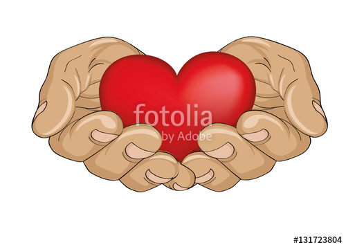 Hands with heart in the palm clipart banner free stock Red heart in the hands. Palms open. Hand gives or receives.\