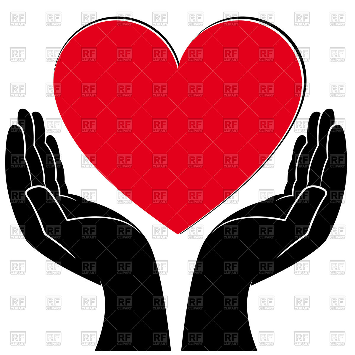 Hands with heart in the palm clipart jpg black and white Red Palm Hand Clip Art at Clker - Clip Art Library jpg black and white