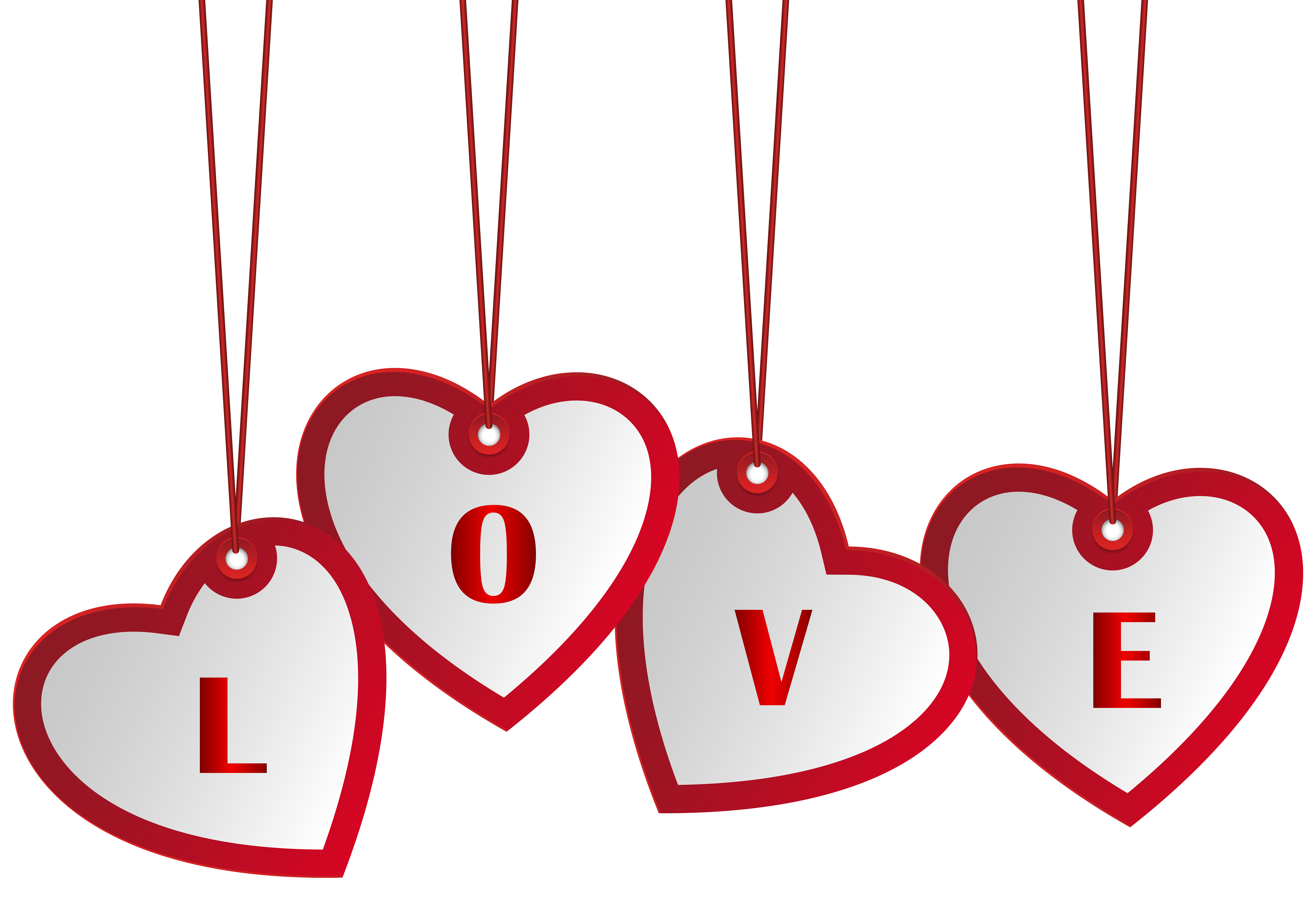 Hanging heart clipart clip transparent library Hanging Love Hearts PNG Image | Gallery Yopriceville - High-Quality ... clip transparent library
