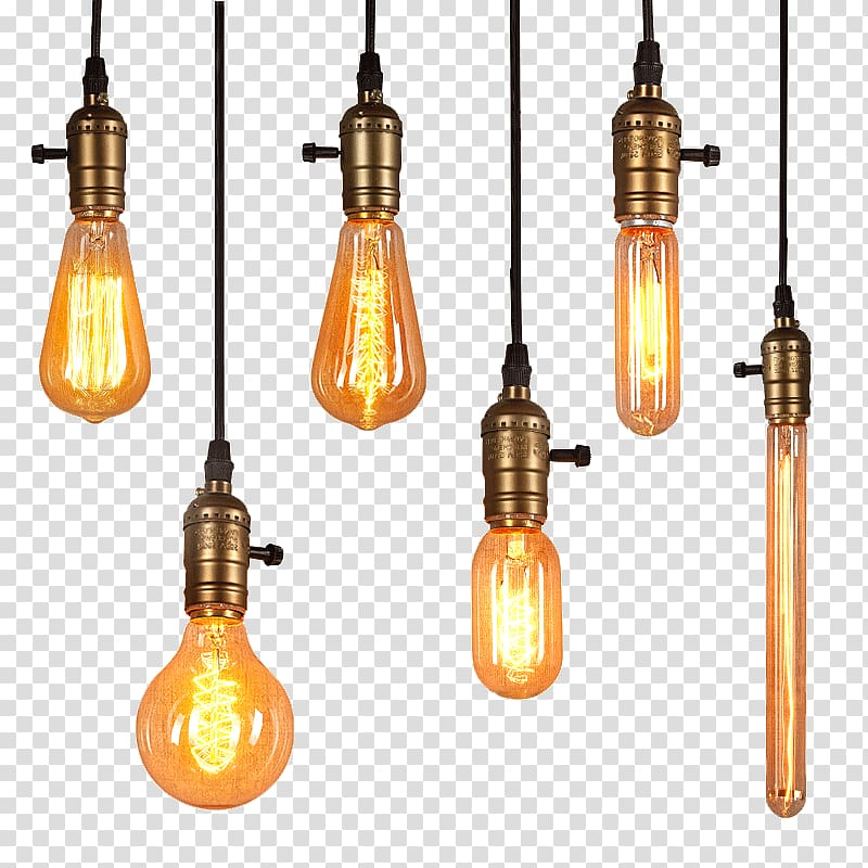 Hanging lamps cliparts png free Six pendant lamps illustration, Lighting Edison light bulb ... png free
