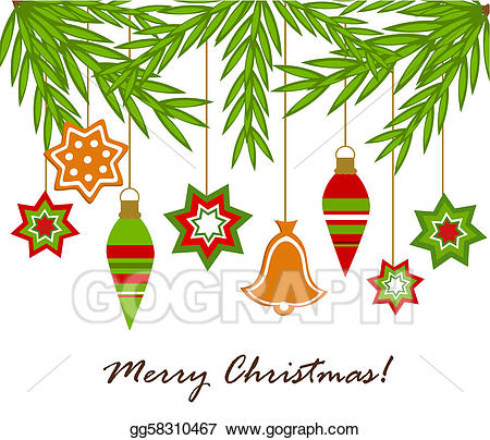 Hanging of the green clipart freeuse stock EPS Illustration - Christmas ornaments hanging. Vector Clipart ... freeuse stock
