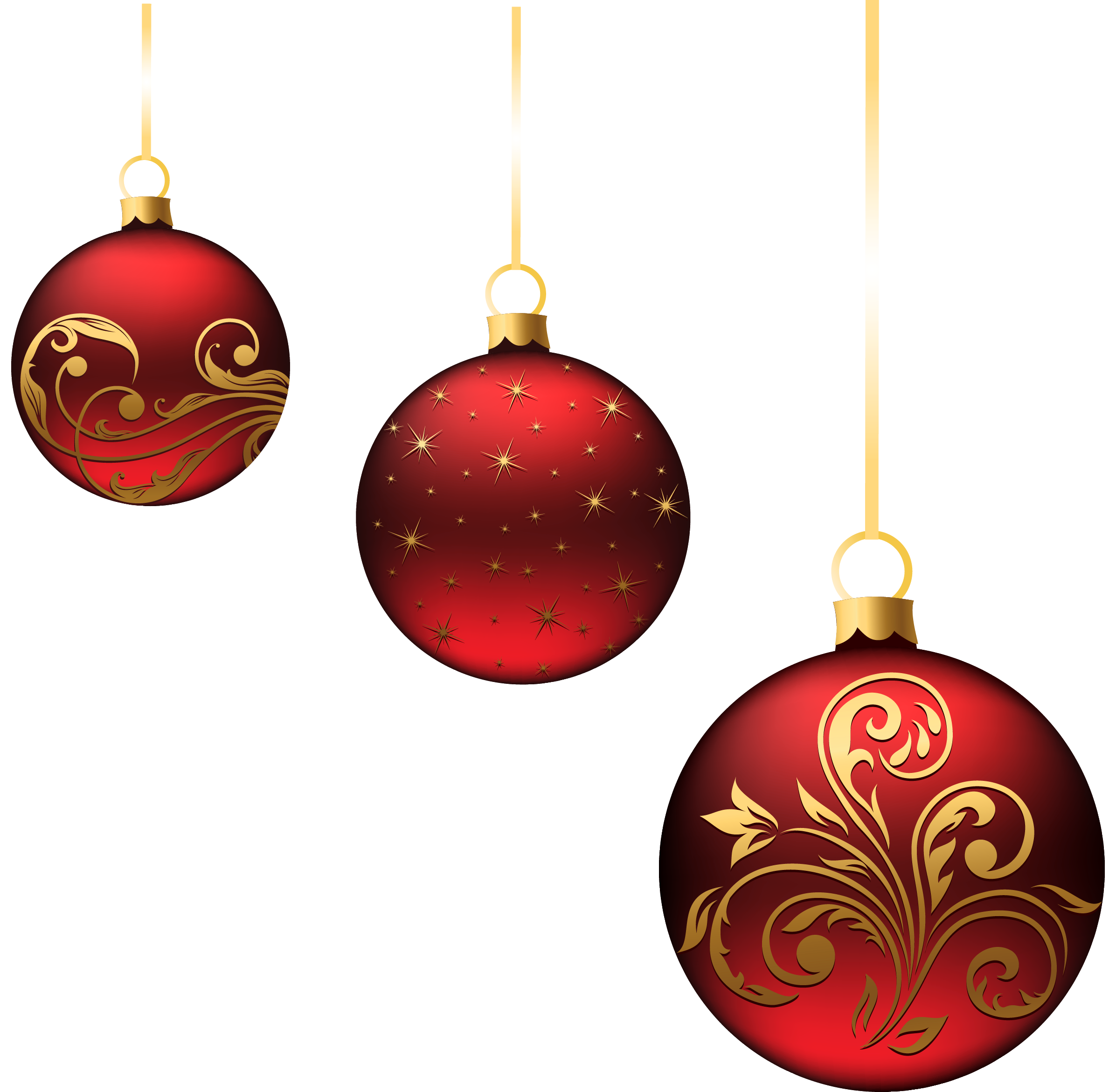 Hanging star oraments clipart vector free stock Christmas Red Balls Ornaments PNG Picture   Gallery Yopriceville ... vector free stock