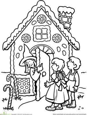 Hansel and gretel clipart black and white clip art black and white library Color the Hansel and Gretel Scene | Hansel and Gretel | Fairy tales ... clip art black and white library