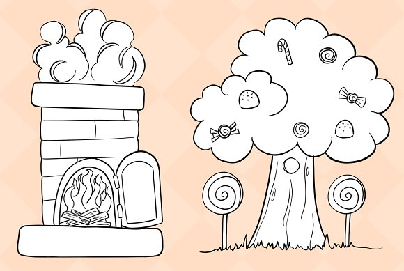 Hansel and gretel clipart black and white image free Hansel and Gretel Digital Stamps image free