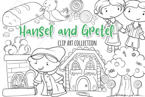 Hansel and gretel clipart black and white vector stock Hansel and Gretel (Black and White) vector stock