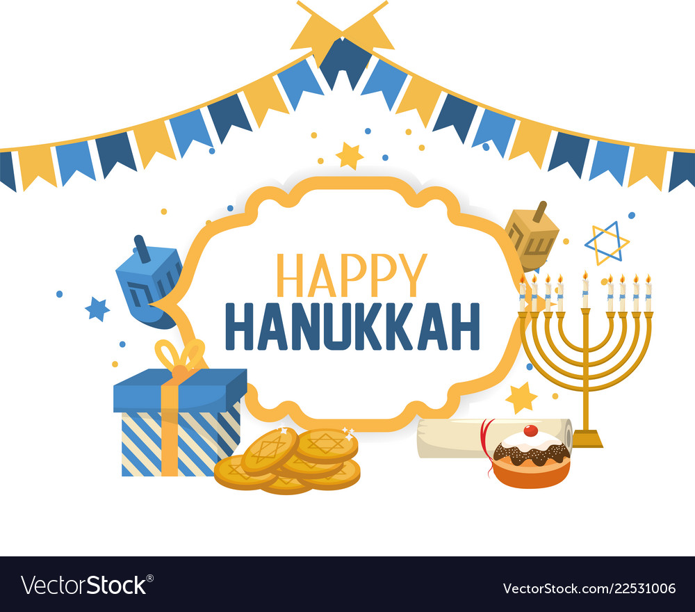 Hanukkah banner clipart clipart stock Happy hanukkah celebration with religion ceremony clipart stock
