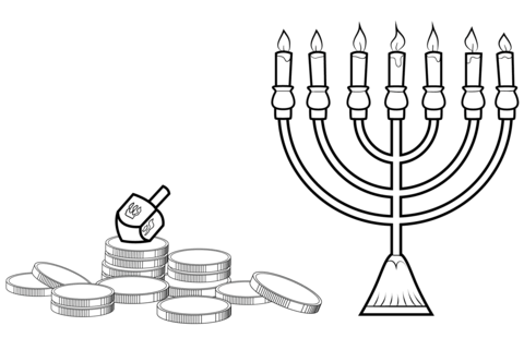 Hanukkah clipart black and white to color clipart black and white Hanukkah Menorah, Dreidel and Gelt coloring page | Free Printable ... clipart black and white