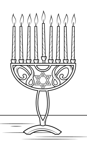 Hanukkah clipart black and white to color graphic Hanukkah Menorah coloring page | Free Printable Coloring Pages graphic