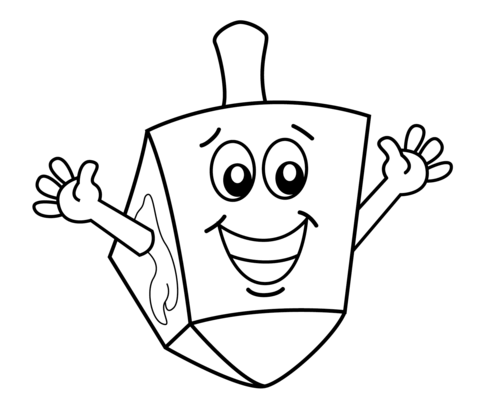 Hanukkah clipart black and white to color clipart black and white stock Hanukkah Dreidel coloring page | Free Printable Coloring Pages clipart black and white stock