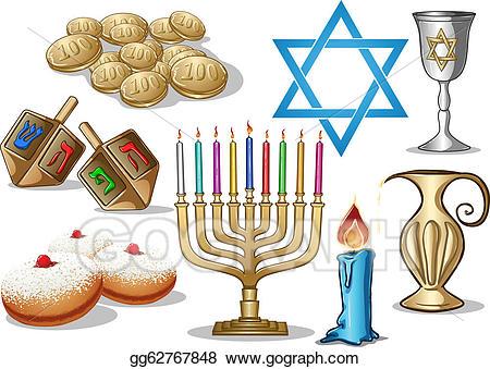 Jewish holiday symbols clipart clip free EPS Illustration - Hanukkah symbols pack. Vector Clipart gg62767848 ... clip free