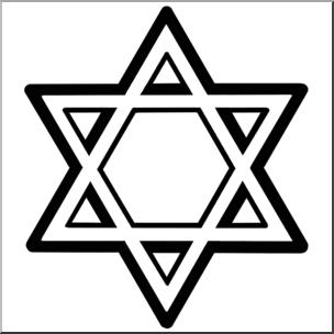 Hanukkah symbols clipart graphic freeuse Clip Art: Hanukkah: Star of David B&W I abcteach.com   abcteach graphic freeuse