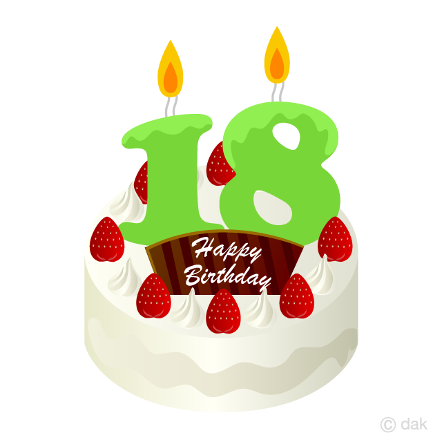 18 Years Old Candle Birthday Cake Clipart Free Picture|Illustoon vector library