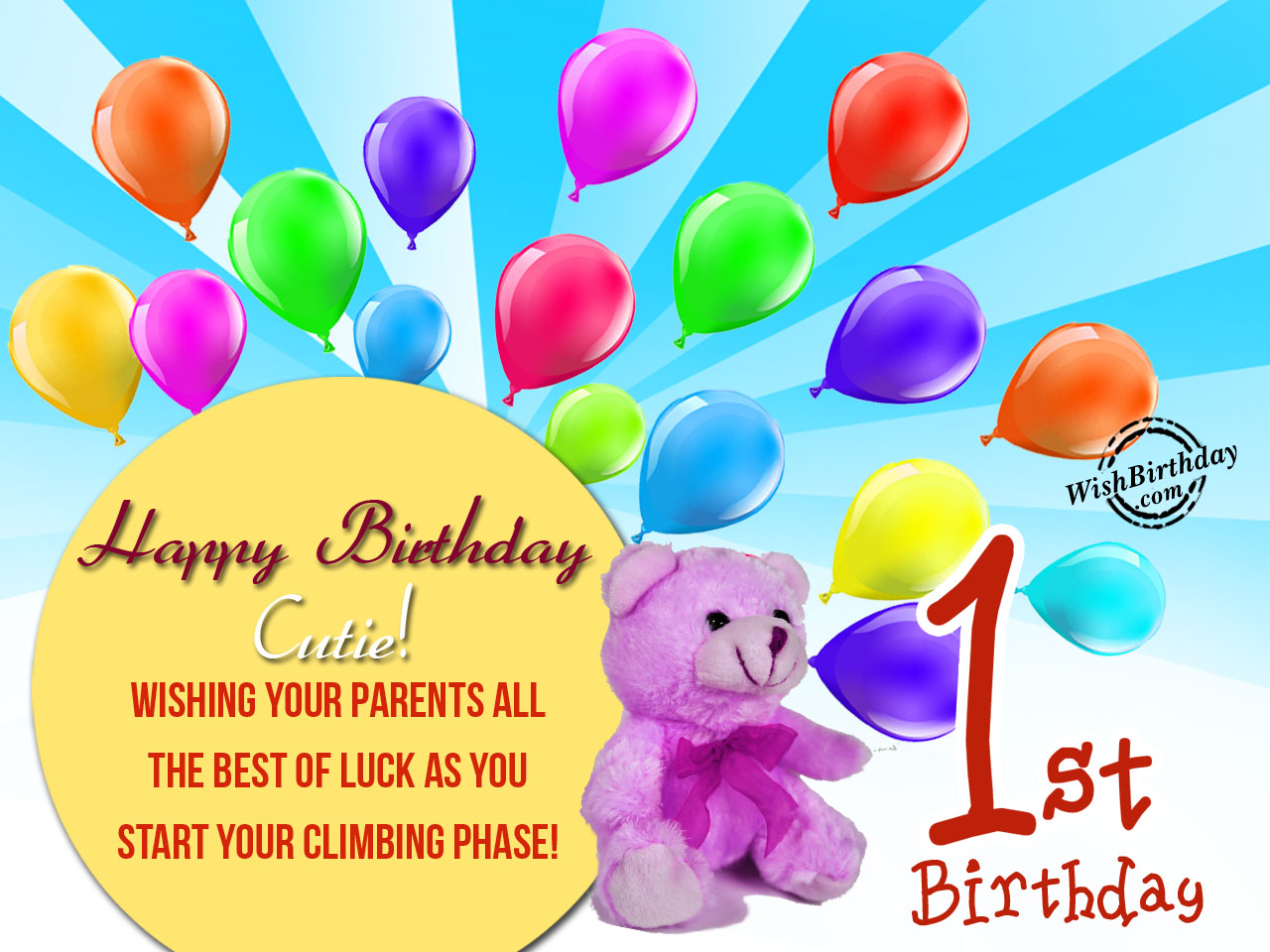 Happy 1st birthday jpg free download Happy 1st Birthday Cutie - WishBirthday.com jpg free download