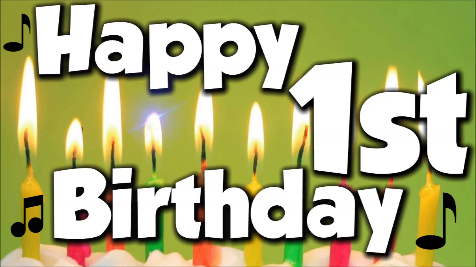 Happy 1st birthday image black and white library Happy 1st Birthday! Happy Birthday To You! - Song - YouTube image black and white library