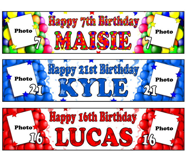 Happy 21st birthday kyle clipart graphic free library PERSONALISED BANNERS NAME AGE PHOTO BIRTHDAY PARTY Balloon childrens girl  boy C1 graphic free library