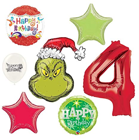 Happy 4th birthday clipart png black and white stock Amazon.com: The Grinch Wishes You a Happy 4th Birthday Party ... png black and white stock