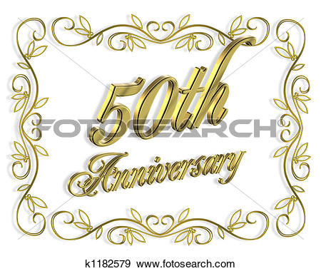 Happy 50th anniversary clipart vector royalty free download Clipart of 50th Wedding anniversary k1177041 - Search Clip Art ... vector royalty free download