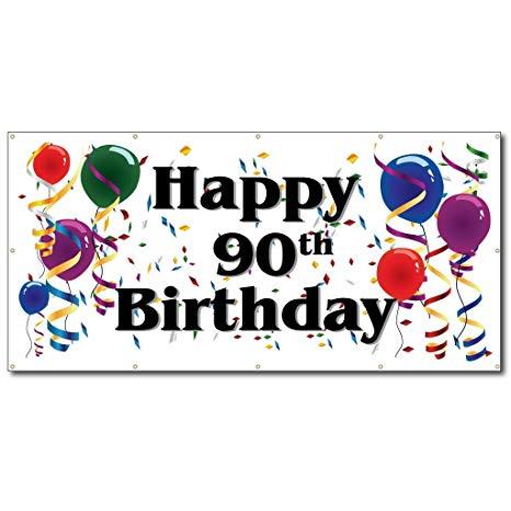 Happy 90th birthday free clipart graphic transparent download Happy 90th Birthday - 3\' x 6\' Vinyl Banner graphic transparent download