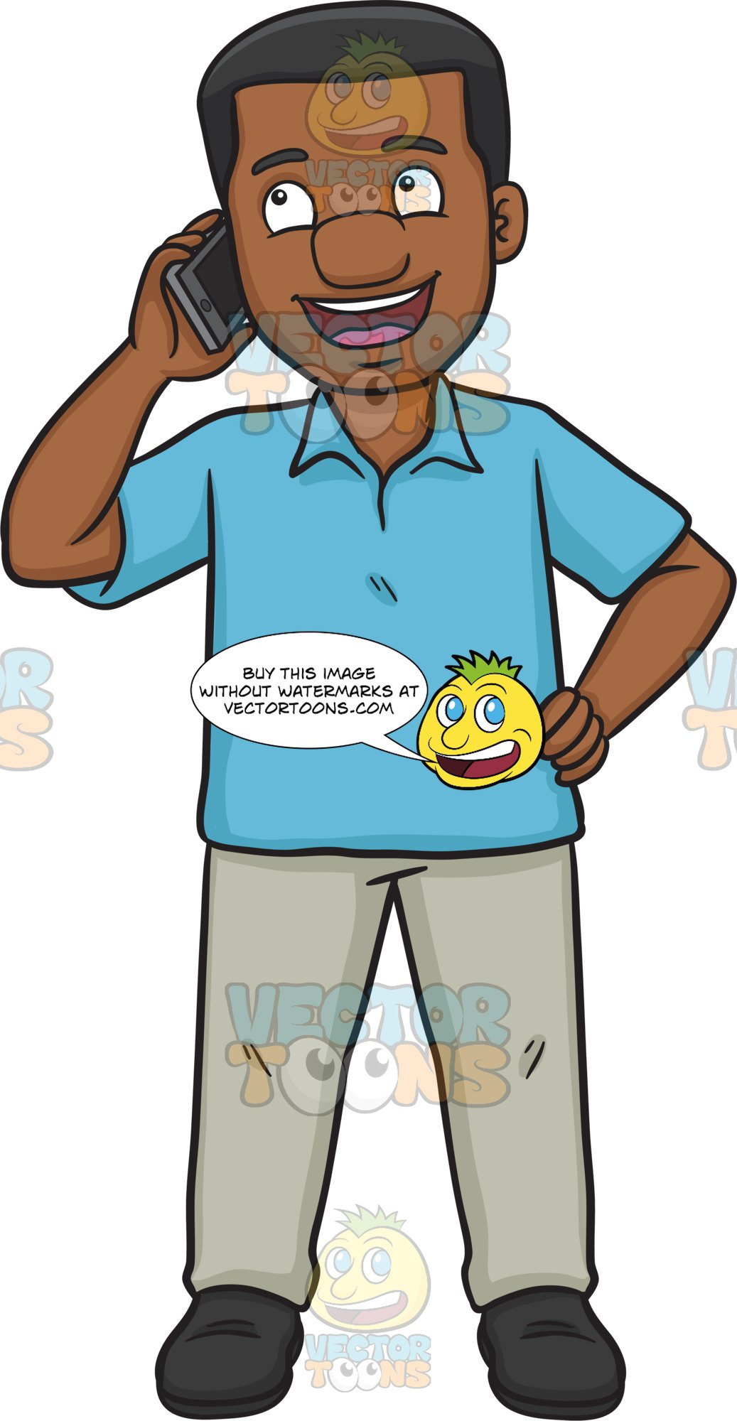 Happy african man and woman cartoon clipart banner black and white A Happy Black Man Calling Someone On His Phone banner black and white