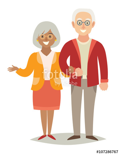 Happy african man and woman cartoon clipart banner download International family. Pensioner happy family. Old european man and ... banner download