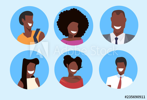 Happy african man and woman cartoon clipart vector free set african american man woman avatar happy face profile male female ... vector free
