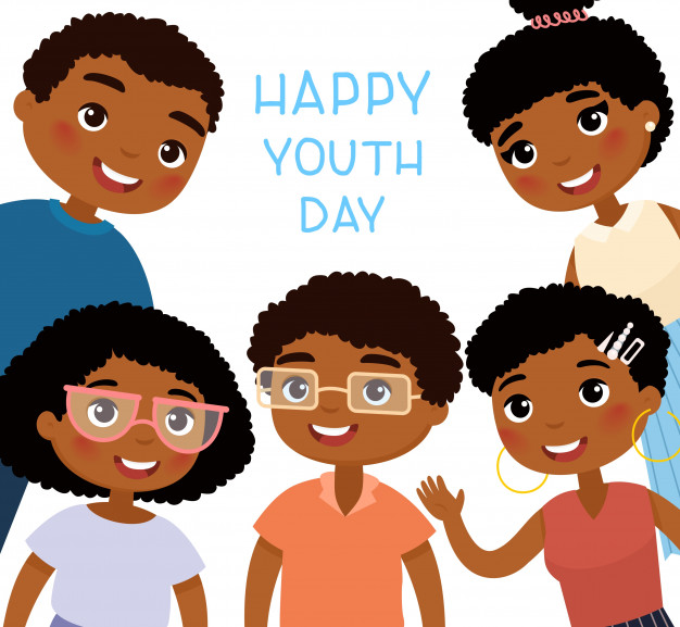 Happy african man and woman cartoon clipart clip art transparent Happy youth day. five african american young women and young men ... clip art transparent