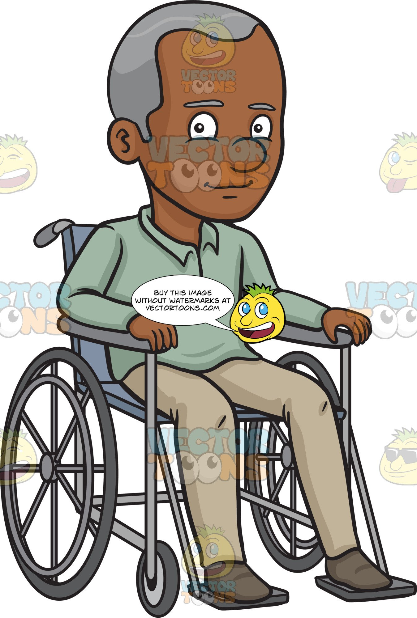 Happy african man and woman cartoon clipart banner A Black Happy Grandfather Sitting In A Wheelchair banner