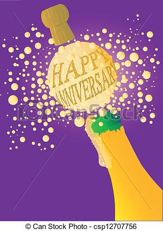 Happy anniversary cartoon clipart banner royalty free library Clipart Vector of Happy Anniversary Champagne - Champagne bottle ... banner royalty free library