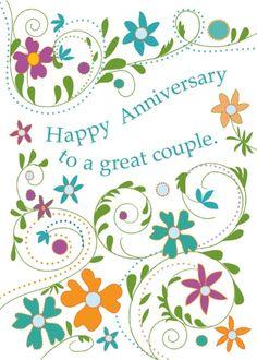 Happy anniversary cute clipart clip art black and white stock Happy Anniversary (W465) Anniversary Luxury Card by Hillberry ... clip art black and white stock