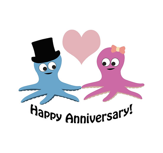 Happy anniversary cute clipart svg royalty free download Happy Anniversary! Cute Octopus Couple