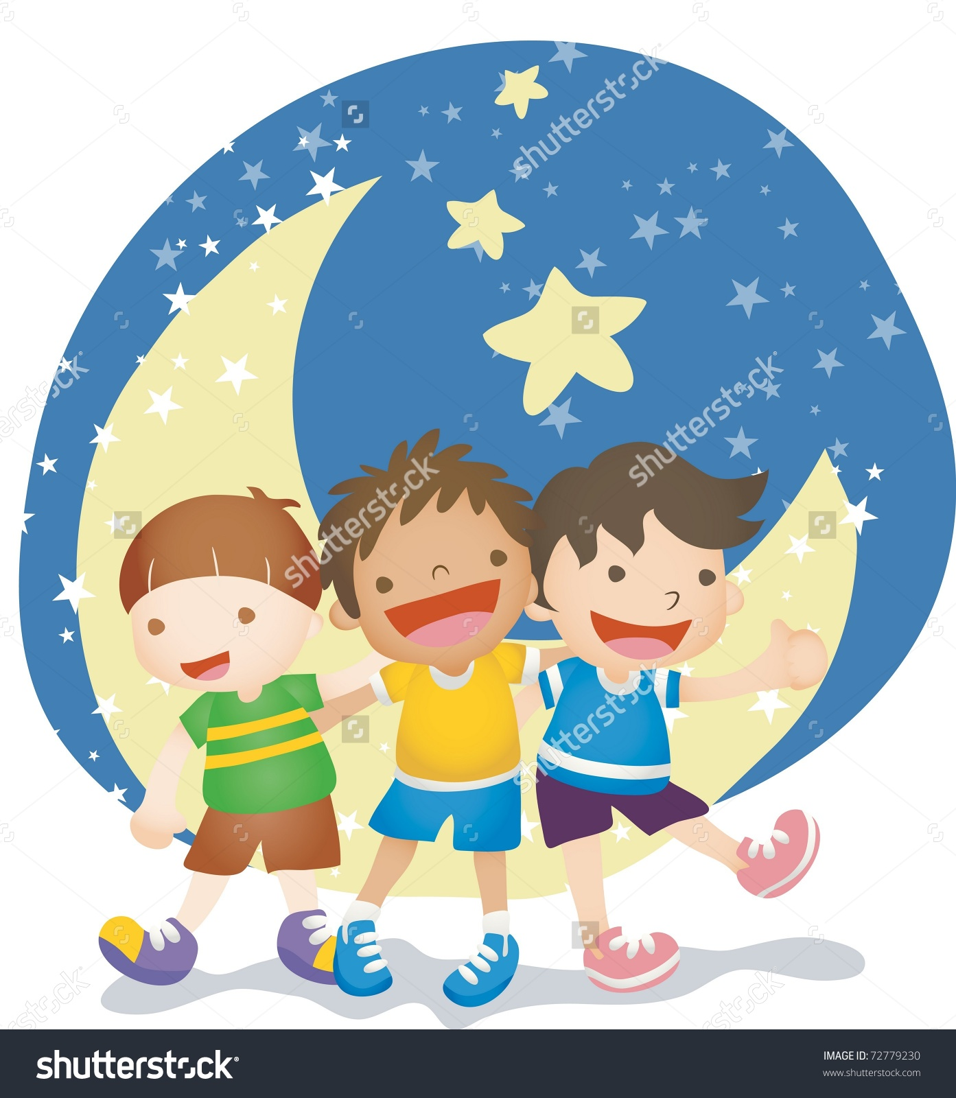 Happy anniversary cute clipart png free library Happy Anniversary Global Friends Playing Moonlight Stock Vector ... png free library
