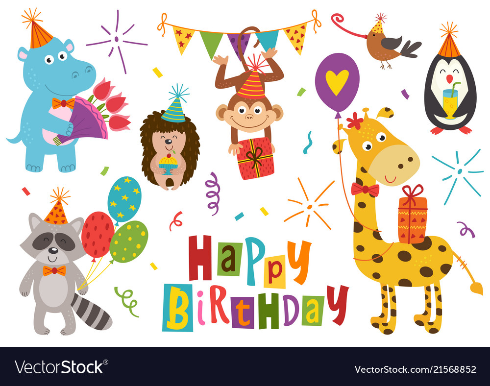 Happy birthday animal clipart clip transparent stock Set of isolated funny animals happy birthday clip transparent stock