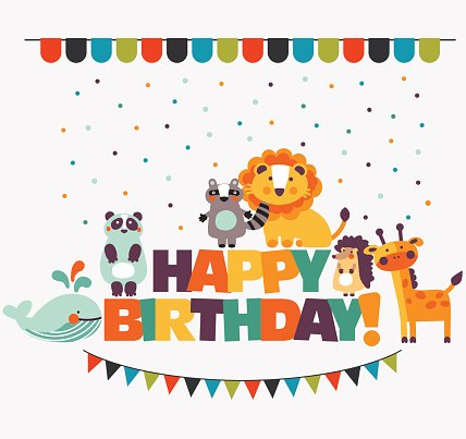 Happy birthday animal clipart image library library happy Birthday\' Lovely Vector Card With Cute Animals and Garlands ... image library library