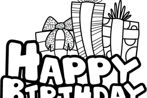 Happy birthday banner clipart black and white