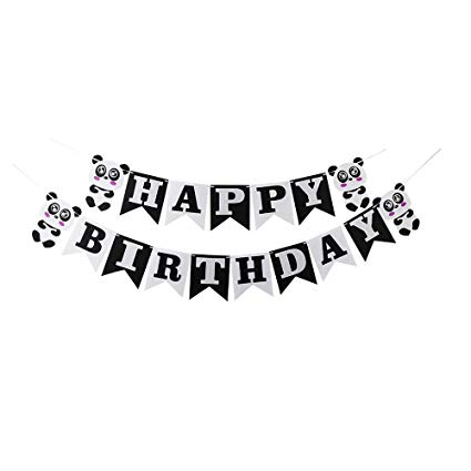 Happy birthday banner clipart black and white clipart royalty free stock LVEUD Happy Birthday Party Decorations, Black and White, Panda Happy  Birthday Banner, Birthday Party Decoration Supplies clipart royalty free stock