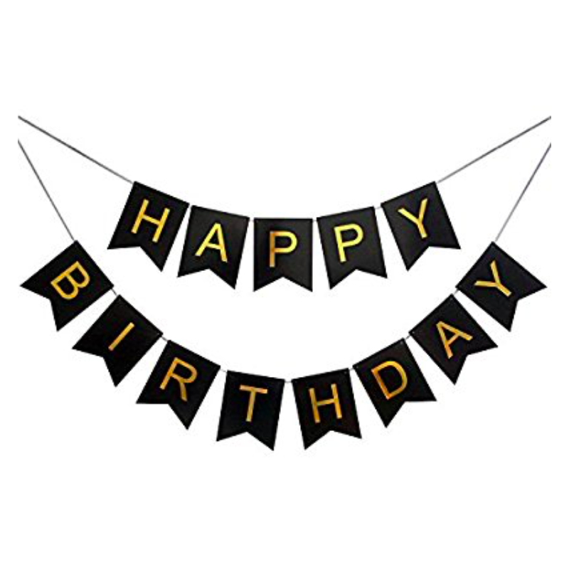 Library Of Happy Birthday Banner Clipart Transparent Black And