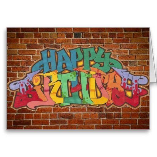 Happy birthday bel air font clipart svg transparent library Graffiti Birthday Card | Zazzle.com | Ty | Happy birthday signs ... svg transparent library