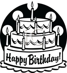 Happy birthday cake clipart black and white picture black and white Birthday cake clip art free black and white | Clip Art To Convert ... picture black and white