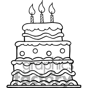 Happy birthday cake clipart black and white jpg freeuse Birthday Cake Black And White Clipart - Clipart Kid jpg freeuse