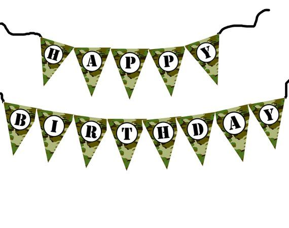 Happy birthday camo clipart picture freeuse library DIY Army military camouflage birthday banner printable file ... picture freeuse library