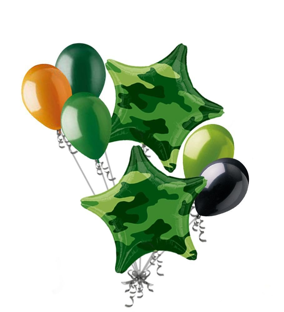 Happy birthday camo clipart png transparent stock 7pc Camo Stars Balloon Bouquet Army Marines Military Happy Birthday Welcome  Home png transparent stock