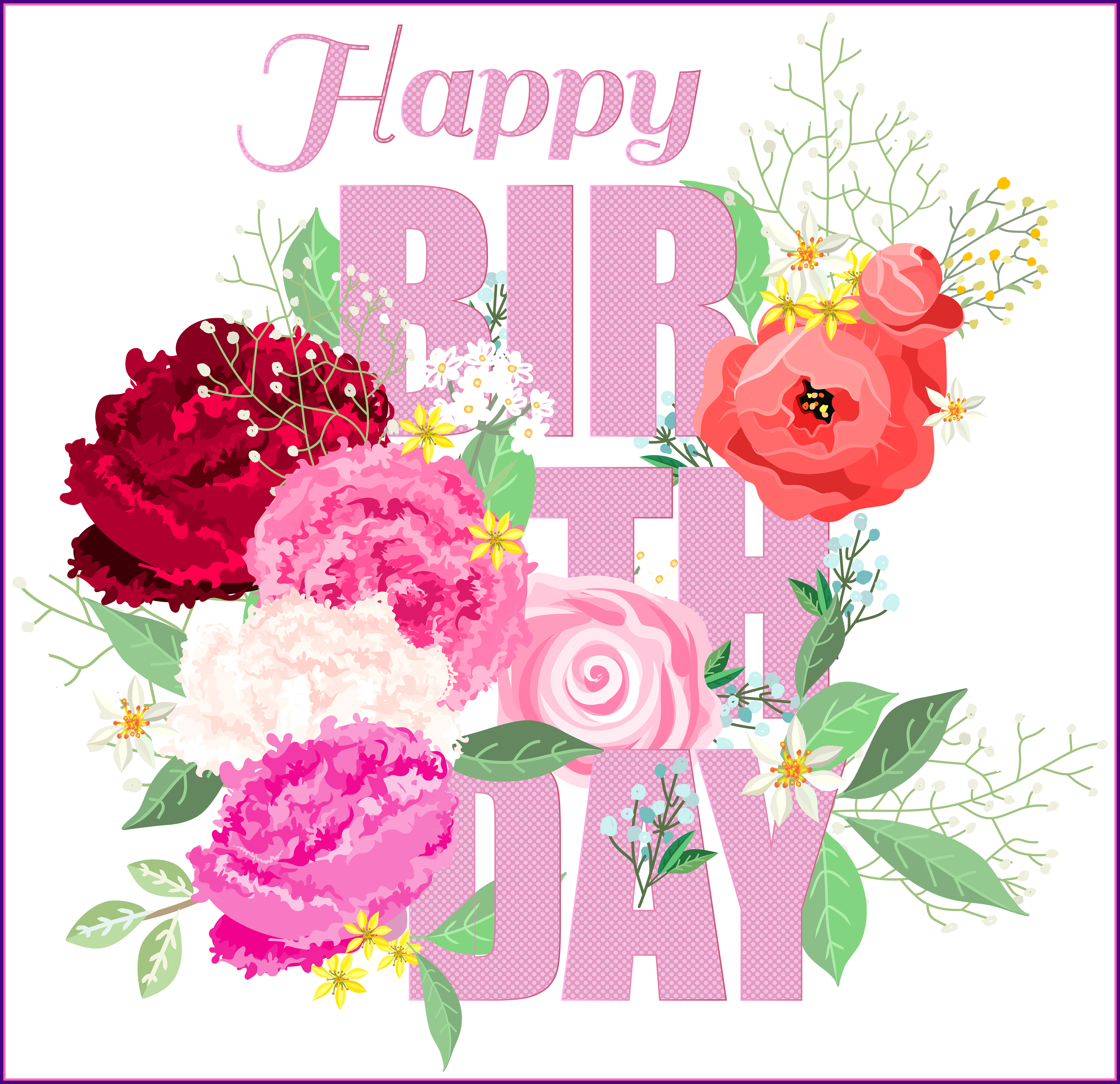 Happy birthday clipart flower for her jpg black and white library Unbelievable Happy Birthday With Flowers Png Clip Art Baski Of ... jpg black and white library