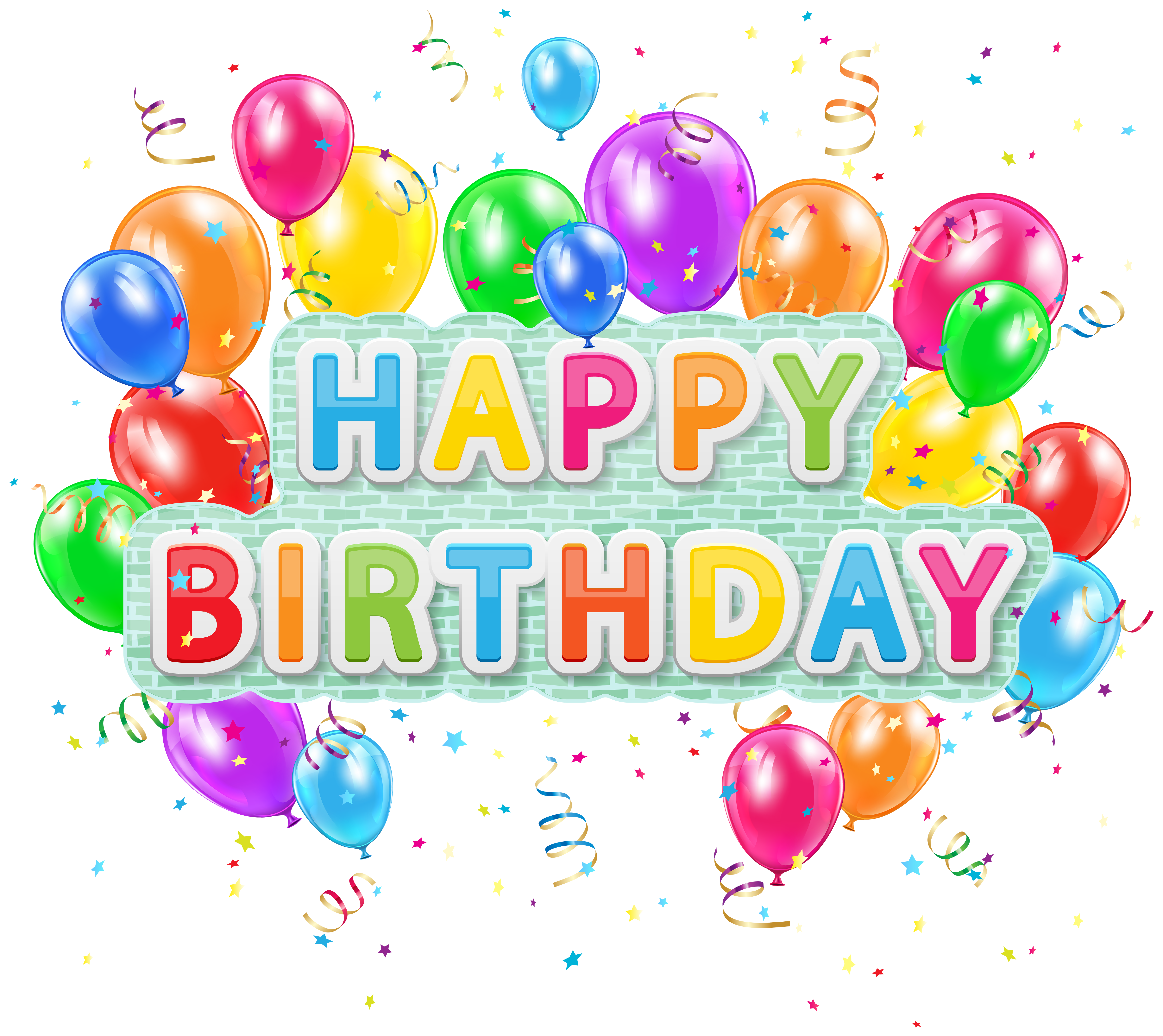 Happy birthday flower clipart picture download Happy Birthday Deco Text with Balloons PNG Clip Art Image | Gallery ... picture download