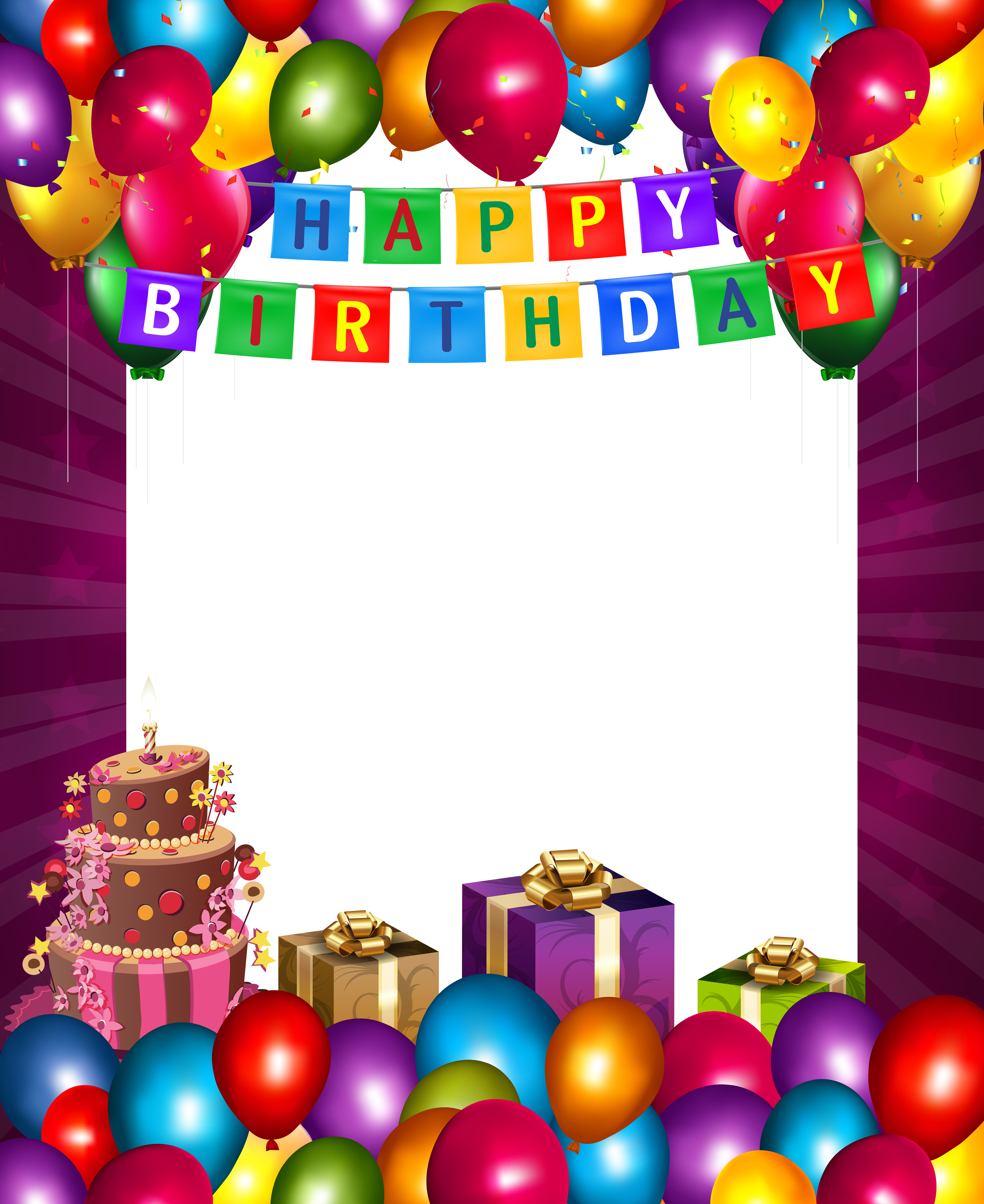 Happy birthday football clipart clipart library Happy Birthday with Balloons Transparent PNG Frame | Gallery ... clipart library