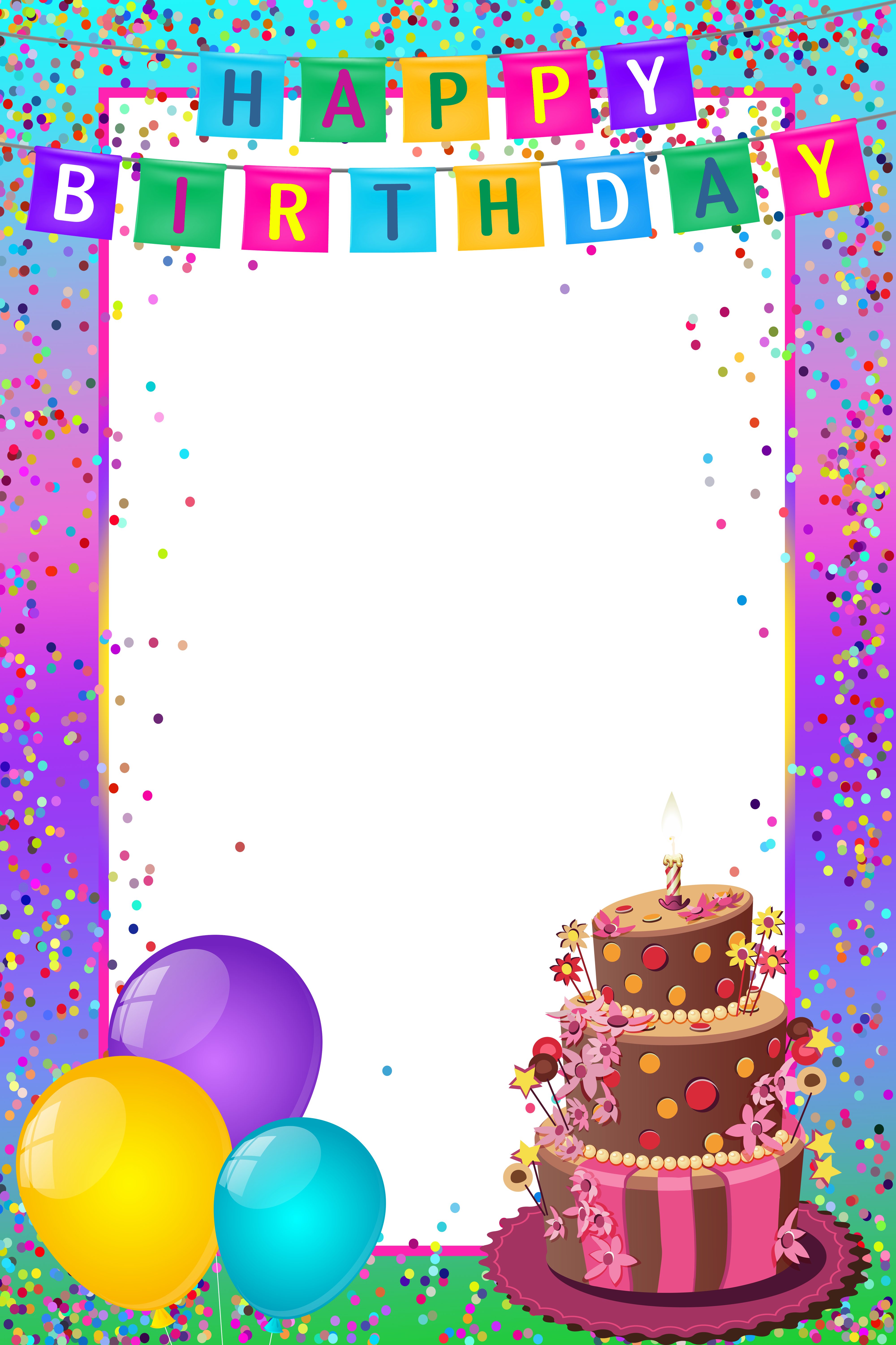 Happy birthday frames and borders clipart transparent library Happy Birthday PNG Transparent Multicolor Frame | Gallery ... transparent library