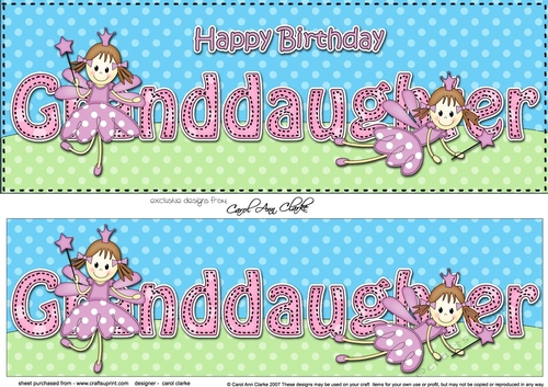 Happy birthday granddaughter clipart image transparent stock Large DL Happy Birthday GRANDDAUGHTER 3D decoupage image transparent stock