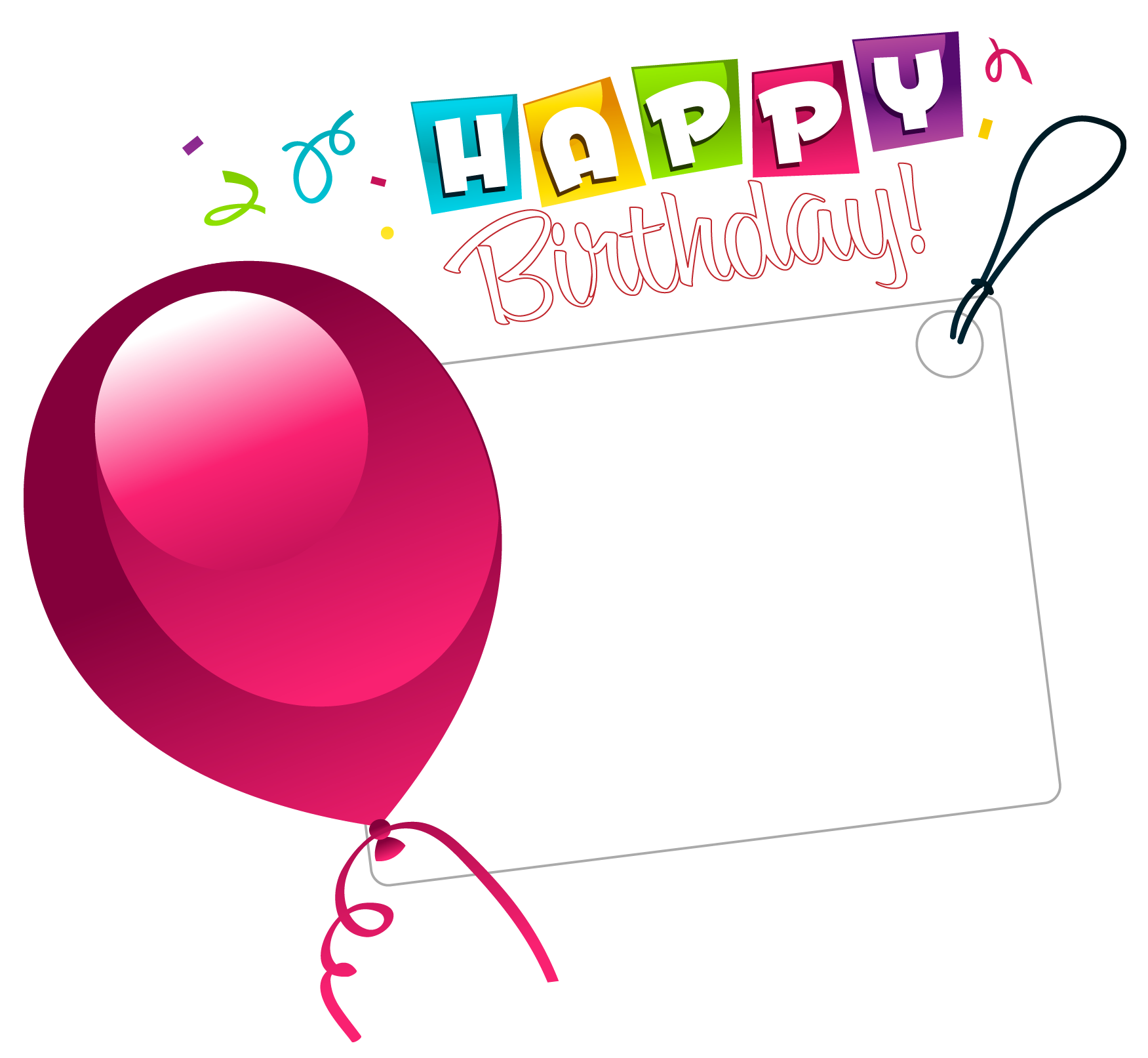 Happy birthday heart clipart for her transparent download Happy Birthday Transparent Sticker with Pink Balloon | Gallery ... transparent download
