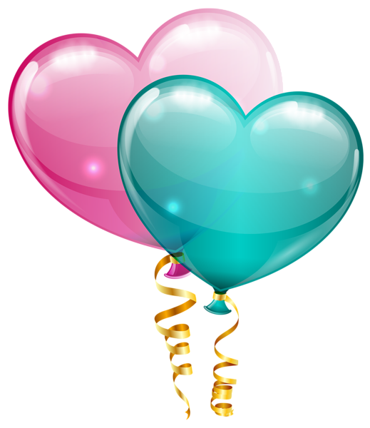 Heart shaped balloons clipart clip art black and white Pink and Blue Heart Balloons PNG Clipart Image | валентинки ... clip art black and white