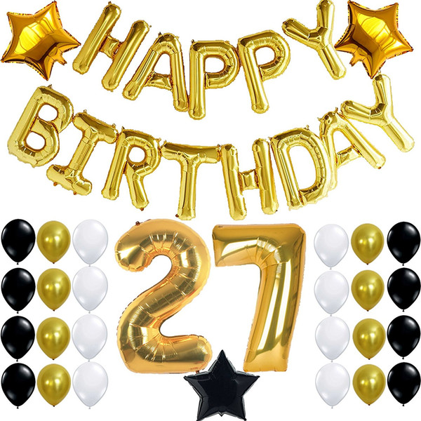 Happy birthday stylebanner clipart gold and white clip royalty free 2019 27 Year Old Birthday Party Decoration Kit, Gold Black And White Happy  Birthday Banner ,Perfect Party Supplies From Diyribbon, $12.57 | DHgate.Com clip royalty free